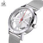 Shengke Luxury Quartz Watch Women <b>Silver</b> <b>Bracelet</b> Watches Stainless Steel Relojes Mujer 2018 SK Creative Ladies Watches #8280