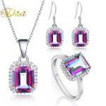 ZHIXI 925 <b>Sterling</b> <b>Silver</b> <b>Jewelry</b> Fine <b>Jewelry</b> Set Gem Stone Rainbow Mystic Topaz Necklace Pendant Ring Earrings Wedding E237