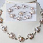 Prett Lovely Women's Wedding >Fashion jewellery freshwater pearl necklace bracelet earring ring set silver <b>jewelry</b>