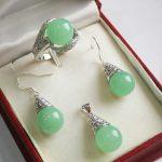 Prett Women's Wedding Hot! beautiful new <b>jewelry</b> silver plated + 12mm light green gem stone pendant, earring, , ring set