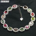 ZHHIRY Natural Tourmaline Gems Bracelet Natural Stone Genuine 925 <b>Sterling</b> <b>Silver</b> Woman <b>Jewelry</b>
