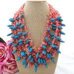 N073006 20″ 5Strands Pink Coral Blue Necklace