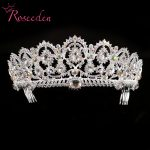 Exquisite AB Stones Wedding tiaras Quinceanera Pageant Crowns Silver Rhinestone Hair Accessories <b>Jewelry</b> For Bride RE128B