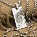 LINSION Handmade Solid 999 Sterling <b>Silver</b> Angel Wing Devil Wing 2 Sides Charms Pendant 9X021 Steel <b>Necklace</b> 24″