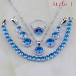 6 Bracelets Round Blue Zircon White Rhinestone 925 Sterling Silver <b>Jewelry</b> Sets For Women Earring/Pendant/<b>Necklace</b>/Bracelet/Ring
