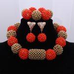 Fashion Red Nigerian Wedding Crystal <b>Necklace</b> <b>Jewelry</b> Set Golden Balls Africa Dubai Brides Bridesmaid <b>Jewelry</b> Set New LXF30
