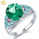 Hutang Brand Big Green Fluorite Apatite Tourmaline Diamond Rings for Women 925 Sterling <b>Silver</b> <b>Jewelry</b> Engagemet Midi Ring Gift