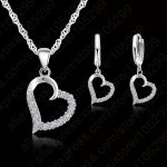 JEXXI Classic Cubic Zircon Heart Pendant <b>Jewelry</b> Set 925 Sterling <b>Silver</b> Necklace/Earring Women Wedding Sets