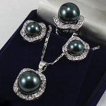 Women's Wedding 10mm &14mm Black South Sea Shell Pearl Earrings Ring &Necklace Pendant silver mujer moda