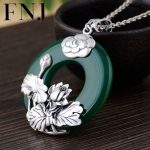FNJ 925 <b>Silver</b> Lotus Round Pendant Green Chalcedony Stone Hang Original S925 Thai <b>Silver</b> Pendants Women for <b>Jewelry</b> Making