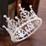 Diadem Bride Pearl Crown Wedding Tiara Accessories Round Crown For Queen Pageant Hair <b>Jewelry</b> Decoration