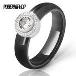 Hot White Big Crystal Wedding Rings 6 mm Black White Ceramic Rings For Women Stainless Steel Circle Ring Wedding <b>Jewelry</b> Gift