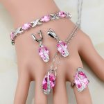 Pink CZ Princess Sterling Silver <b>Jewelry</b> Sets For Women Earrings/Pendant/<b>Necklace</b>/Ring Free Shipping&Gifts Box T237