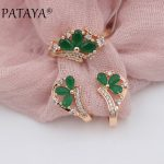 PATAYA New <b>Fashion</b> Women Wedding Party <b>Jewelry</b> 585 Rose Gold Micro-wax Inlay Green Water Drop Natural Zircon Earrings Rings Sets