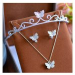 3 pieces Wedding <b>Jewelry</b> Sets For Bridal Silver Color Filled CZ Crystal Butterfly Animal Hairbands Pendant <b>Necklace</b> Earring Sets