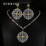 HIBRIDE Luxury Style Round Flower Shape Colorful Swiss CZ Pendants Bridal Women Wedding <b>Jewelry</b> Sets N-65