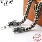 6-8MM Dragon Head Chain 100% Pure <b>Silver</b> Chain Necklace S925 <b>Sterling</b> <b>Silver</b> Necklace Thai <b>Silver</b> Necklaces Men <b>Jewelry</b> HYN14