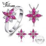 JewelryPalace Flowers 2.6ct Created Ruby Stud Earrings Pendant Necklace Ring <b>Jewelry</b> Sets 925 <b>Sterling</b> <b>Silver</b> 45mm <b>Jewelry</b> Set