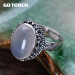 GQTORCH 925 Sterling <b>Silver</b> Natural Gemstone Rings For Women White Chalcedony Vintage Flower carved Fine <b>Jewelry</b> Anelli Argento