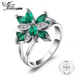 JewelryPalace Flower Shape 1.3ct Created Green Emerald Cocktail Ring Real 925 Sterling <b>Silver</b> Fine <b>Jewelry</b> for Women On Sale