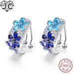 J.C for Women Sapphire Blue Ruby Pink Topaz Genuine Solid 925 Sterling <b>Silver</b> <b>Earrings</b> Fine Jewelry <b>Earrings</b> Free Shipping