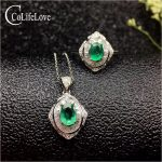 Vintage emerald jewelry set 3mm Princess Cut natural emerald ring <b>earrings</b> necklace pendant solid <b>silver</b> emerald jewelry set