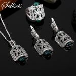 Sellsets Jewellery Design Black Rhinestone And Green Resin Pendant Necklace Set Antique Silver Color Vintage <b>Jewelry</b> Sets
