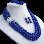 Hot 8mm 3rows Lapis <b>jewelry</b> fashion shopping girl Lazuli necklace bracelet earring sets Fashion <b>Jewelry</b> <b>Making</b> Design AAA ZH0250