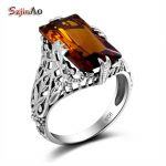 Szjinao 925 <b>Silver</b> Crystal <b>Jewelry</b> Hollow Vintage Style Statement Amber Cocktail Ring bague femme de marque de luxe