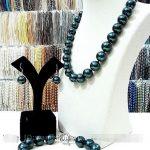 Women's Wedding10-11mm South Sea Black Shell Pearl Necklace bracelet Earrings Set AAA Grade real silver –<b>jewelry</b>