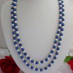 Hot 8mm Lazuli Lapis & White Pearl Shell <b>Necklace</b> 65″ BV121 Rope Chain Hand Made Beads <b>Jewelry</b> Natural Stone (Minimum Order1)