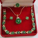Women's Wedding Beautiful silver green gem stone necklace/bracelet pendant earring ring set 5.23 real silver-<b>jewelry</b>