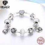 925 <b>Sterling</b> <b>Silver</b> Glittering Petals Clover Flower Heart Sparkling Clasp Charm Bracelets Women Valentine Gift <b>Jewelry</b> GYB018