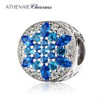 ATHENAIE 925 Sterling <b>Silver</b> Blue Crystals & Clear CZ Crystalized Snowflake Charm Fit All European <b>Bracelets</b> Necklace