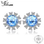 JewelryPalace Halo 2.6ct Blue Topaz Stud <b>Earrings</b> Genuine 925 Sterling <b>Silver</b> Fine Jewelry Classic <b>Earrings</b> For Women Party Gift