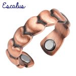 Escalus Ladies <b>Antique</b> Copper Heart Pattern Round Magnetic Ring Resizable Female Magnet Women <b>Jewelry</b> Charm Finger Wear