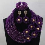 2017Luxury Trendy Fashion African Jewellery Set Purple <b>Handmade</b> Beaded Crystal Party Necklace Set for Brides Free ShippingABL796
