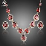 AZORA Gold Color Red CZ Waterdrop Pendant Necklace and Stud Earrings <b>Jewelry</b> Sets TG0149