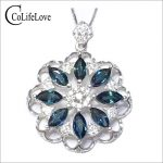 Luxurious <b>silver</b> sapphire pendant 8pcs 3mm*6mm natural dark blue sapphire gemstone <b>necklace</b> pendant solid 925 <b>silver</b> gem pendant