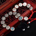 Real 925 <b>Sterling</b> <b>Silver</b> Bracelets Unisex Hand Braided String Six Words Engraved Eight Auspicious Thai <b>Silver</b> Buddha <b>Jewelry</b>