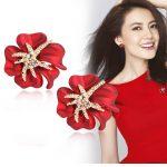 Fine <b>jewelry</b> red flower starfish enamel stud earrings/korean women wedding <b>accessories</b>/brincos/boucle d'oreille/bijoux femme