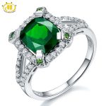 Hutang New Fashion Solid 925 Sterling <b>Silver</b> 3.14ct Natural Chrome Diopside & White Topaz Ring Women's Gemstone Fine <b>Jewelry</b>