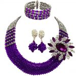 Fashion <b>Silver</b> Purple Crystal Beaded Necklace Nigerian Wedding African Beads Jewelry Set for Women 5L-SXJB08
