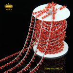5meter 3x4mm Plated Silver Copper Transparent Red Glass Wire Wrapped Faceted Rondelle Glass Rosary Chains Findings <b>Supply</b> HX121