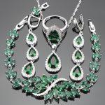 Luxury <b>Silver</b> 925 Costume Women Bridal Jewelry Sets Zircon Stone Earrings Rings Necklace Wedding Pendant <b>Bracelet</b> Set Gift Box