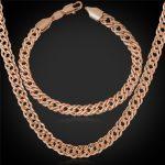 "Rose Gold/<b>Silver</b> Color <b>Bracelet</b> And Necklace Men Jewelry Set Fashion 6MM Thick 55CM 22"" Venitian Chain Hot Sale NH442"