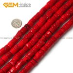 Gem-inside 12mm Dyed Color Tube Cylinder Columnar Column Red Coral Beads For <b>Jewelry</b> <b>Making</b> 15inch DIY Jewellery Strand 15inches