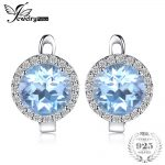 JewelryPalace 5.4ct Natural Sky Blue White Topaz Halo Clip <b>Earrings</b> Genuine 925 Sterling <b>Silver</b> Jewelry For Women Fashion Gift
