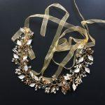 Gorgeous Ribbon Handmade Crystal Pearls Flower Leaf Wedding Tiara Hair Vine Bridal Headband Hair accessories Bridesmaids <b>Jewelry</b>