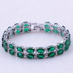 Glaring Green Created Emerald Silver Color Charm Bracelets Party Fashion <b>Jewelry</b> For Women Trend <b>Accessories</b> D0001